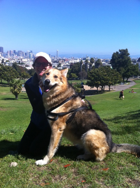 Sharon & Cleo on one of their San Francisco hills